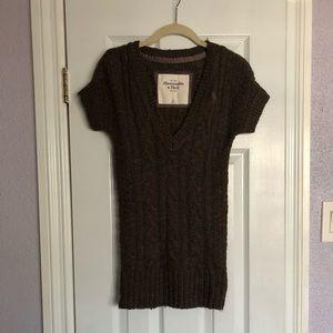 Knit Sleeve Brown Mini Dress